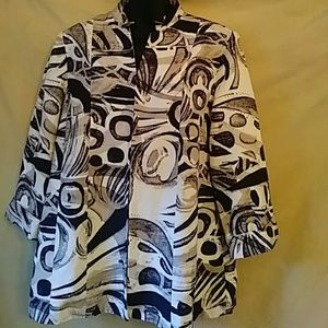Chico's lined print silk/linen jacket-sz M (2)
